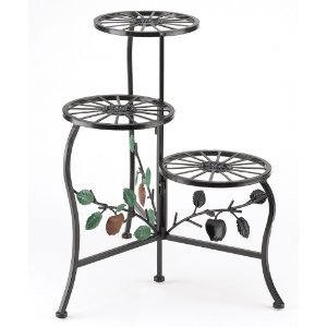 3-shelf wrought iron indoor/outdoor plant stand