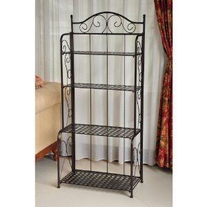 Baker's rack plant stand in wrought iron